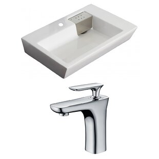 Comparison Ceramic 26 Wall Mount Bathroom Sink with Faucet and Overflow By American Imaginations