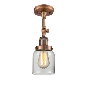 Wynkoop Bell Glass 1-Light Semi Flush Mount by Breakwater Bay