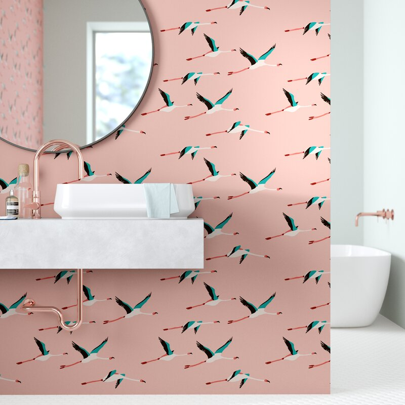 Bowe+Colton+Flamingo+Peel+and+Stick+Wallpaper+Panel