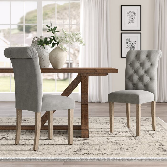 best service b2adc f6699 Bushey Roll Top Upholstered Dining Chair