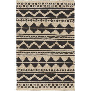 Best Columbia Hand-Woven Black Area Rug By Loon Peak