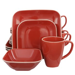 Square Dance 16 Piece Dinnerware Set, Service for 4