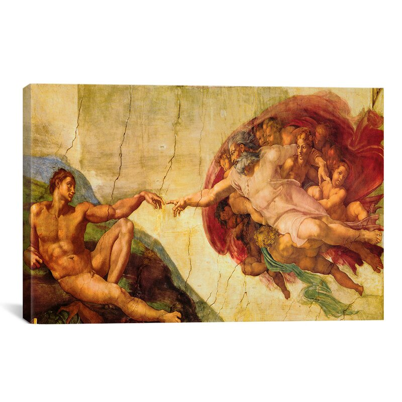 'Creation of Adam' by Michelangelo - Wrapped Canvas Print
