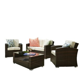 Timycha 4 Piece Sofa Seating Group With Cushions by Wrought Studio Modern