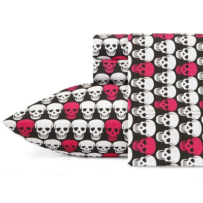 Skulls Sheet Set Betsey Johnson Size: Queen