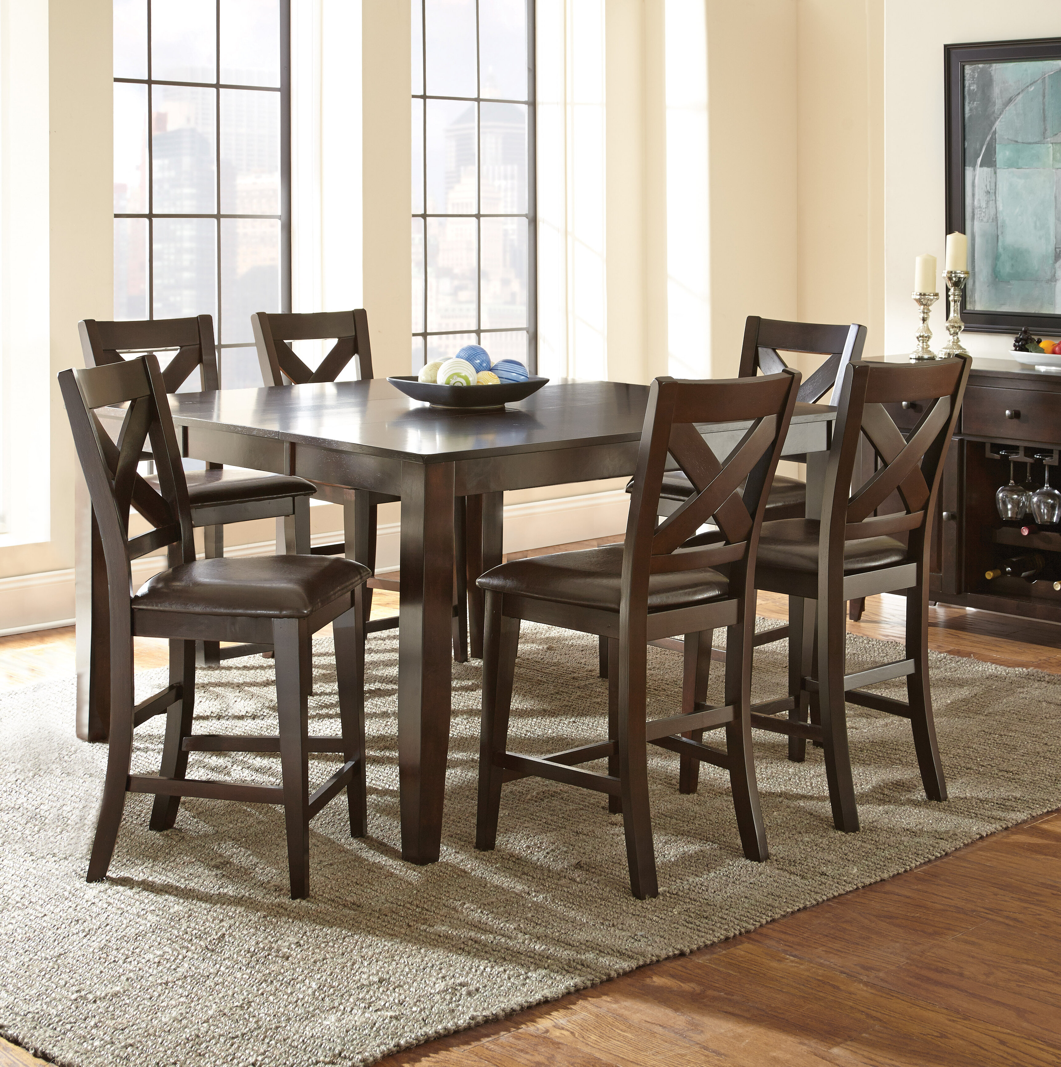 Picture of: Alcott Hill York 7 Piece Counter Height Extendable Solid Wood Dining Set Reviews Wayfair