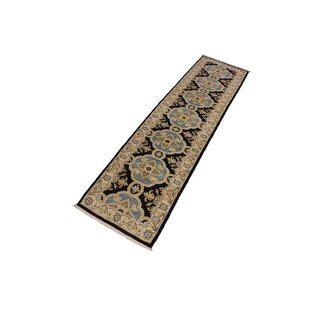 Read Reviews One-of-a-Kind Grigori Hand-Knotted Runner 2'7 x 10' Wool Black/Beige Area Rug By Isabelline