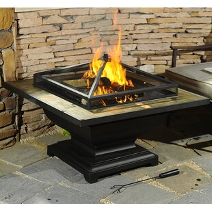 Sunjoy Trent Steel Wood Burning Fire Pit Table