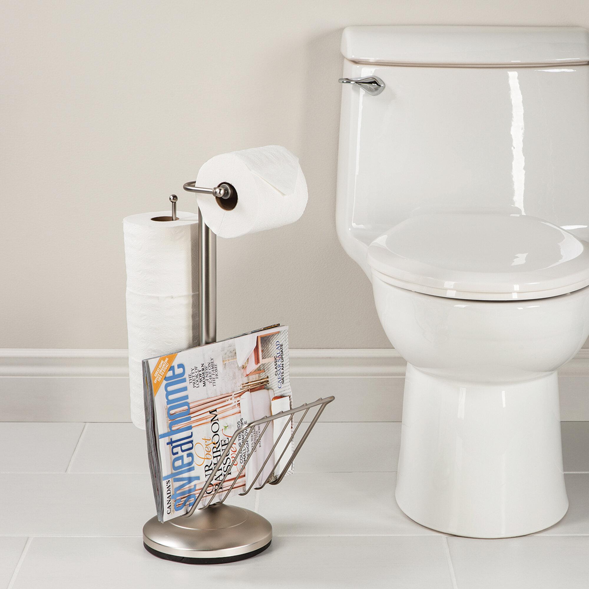 Home Office Toilet Bathroom Magazine Holder Rack Stand Newspaper Storage Chrome