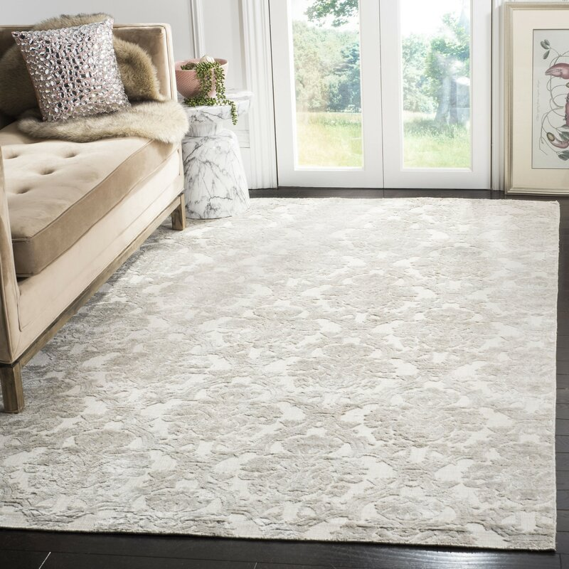 Gracie Oaks Jessup Hand Loomed Silver Area Rug Wayfair