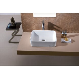 Luxier Ceramic Rectangular Vessel Bathroom Sink