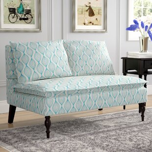 Hofmann Upholstered Graphic Print Banquette Loveseat by Charlton Home