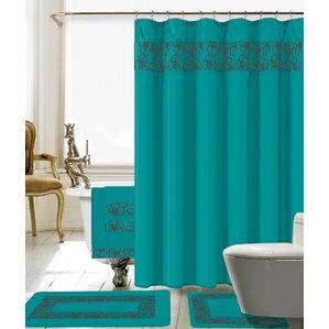 royal blue shower curtain set. Elysee 18 Piece Embroidery Shower Curtain Set Blue Curtains You ll Love