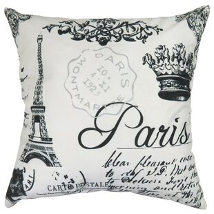 Paris Collage Printed Decorative 100% Cotton Throw Pillow