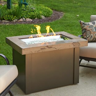 Providence Concrete/Metal Propane/Natural Gas Fire Pit Table By The Outdoor GreatRoom Company