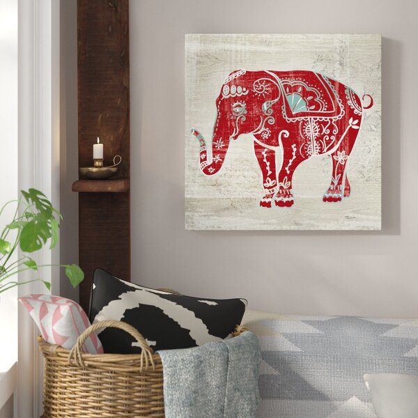 'Painted Elephant' Graphic Art on Canvas - Boho Moroccan African