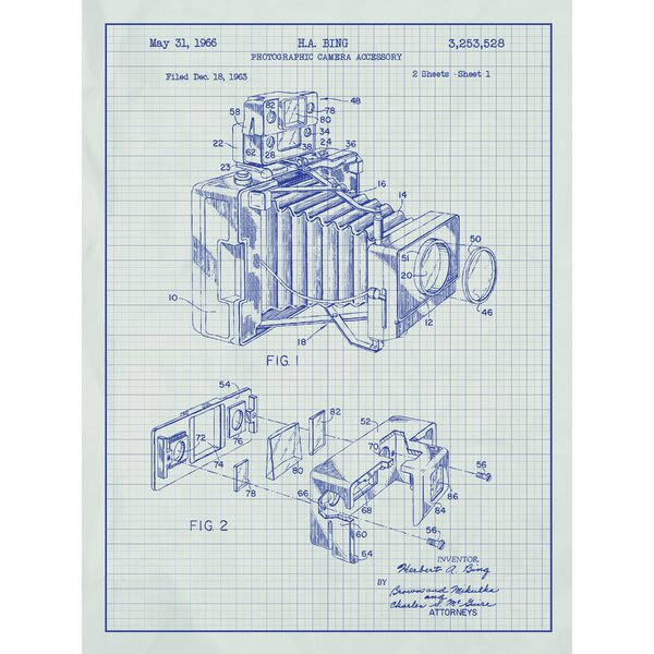 Inked and screened photographic camera blueprint graphic art inked and screened photographic camera blueprint graphic art reviews wayfair malvernweather Gallery