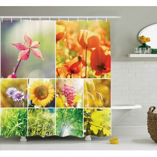Farley Flourish Spring Collage With Grapes Trees and Sunflowers Countryside Hot Photo Single Shower Curtain
