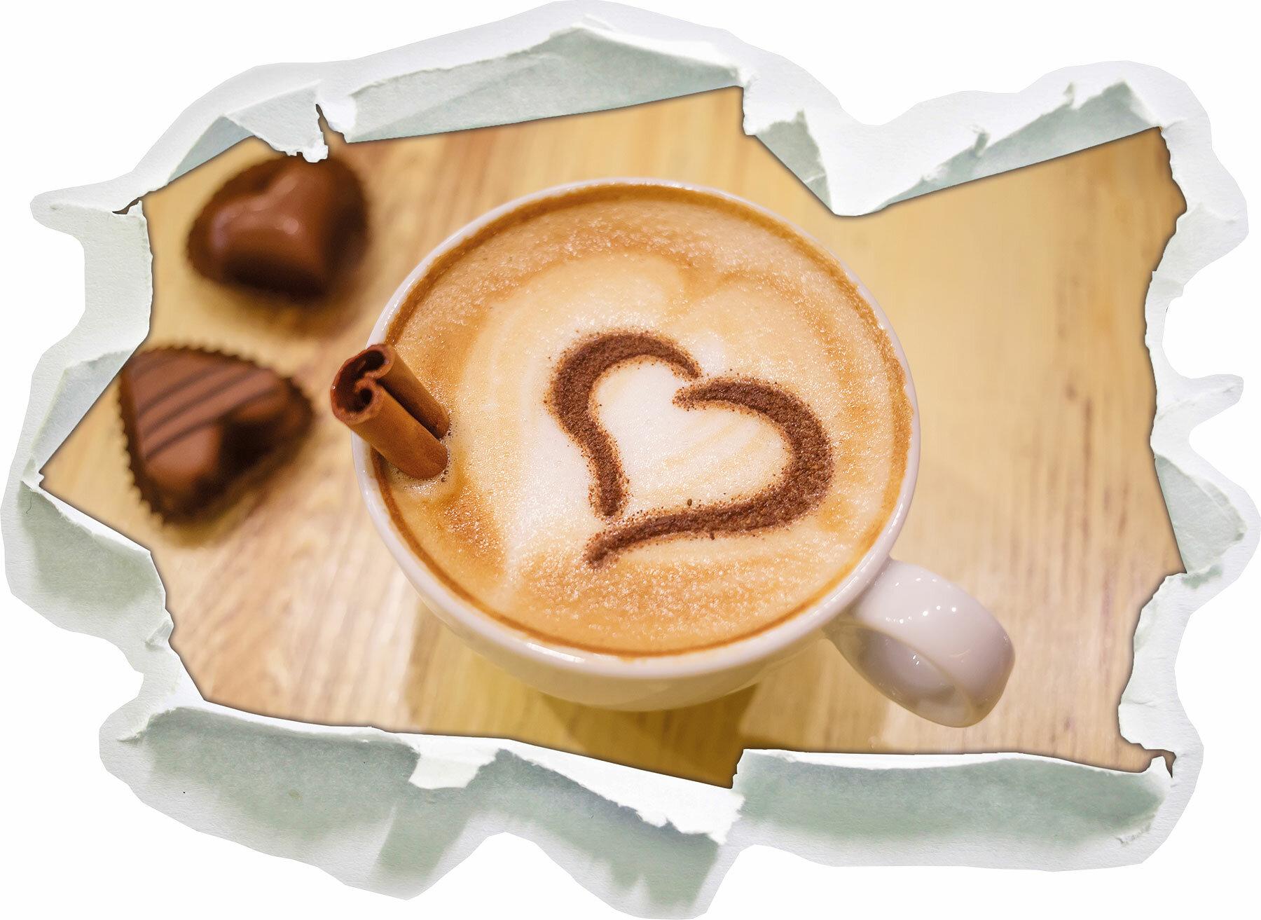 Pixxprint Wandtattoo Kaffee Coffee Herz Aus Schaum Cappuccino