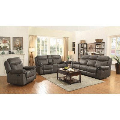 Nyberg Motion 3 Piece Reclining Living Room Set Red Barrel Studio