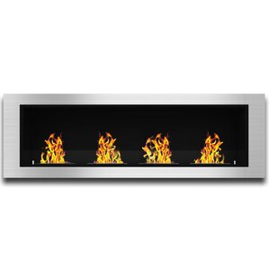 Latitude Run Kelly Ventless Built in Recessed Wall Mount Bio Ethanol Fireplace