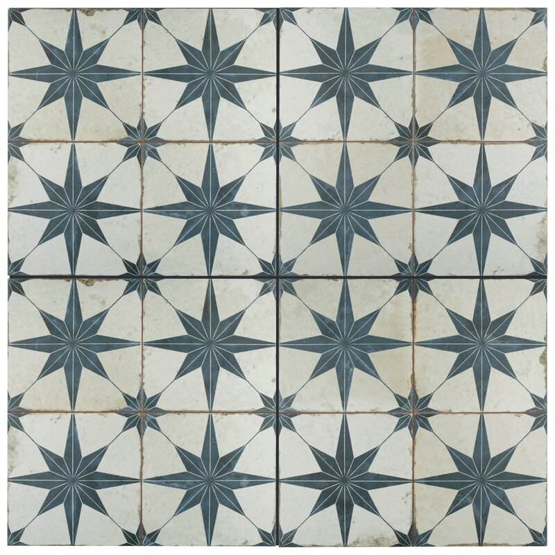 "Royalty Galactic 17.63"" x 17.63"" Ceramic Field Tile in Blue"