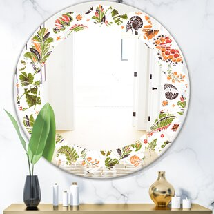 Leaves Fantasy Flowers I Cottage Americana Frameless Wall Mirror by East Urban Home