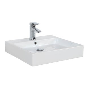WS Bath Collections Simple Ceramic Ceramic Square Vessel Bathroom Sink with Overflow