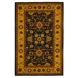 Affordable Lemberg Oriental Floral Gold/Black Area Rug By Bloomsbury Market