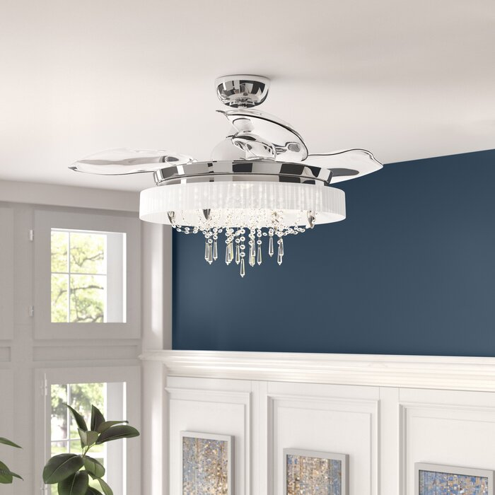 Gold Flamingo 42.5 Inch Ceiling Fan with Remote Control Light Kit