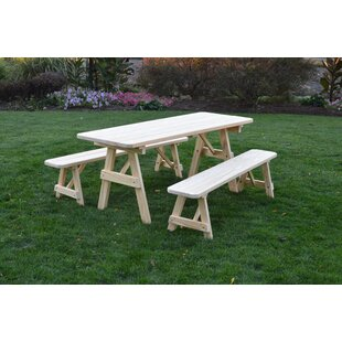 Loon Peak Roseboom Pine Traditional Picnic Table with 2 Benches