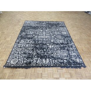 Best Price One-of-a-Kind Dowling Tone on Tone Hand-Knotted 7'11 x 9'10 Wool/Silk Black/White Area Rug By Isabelline