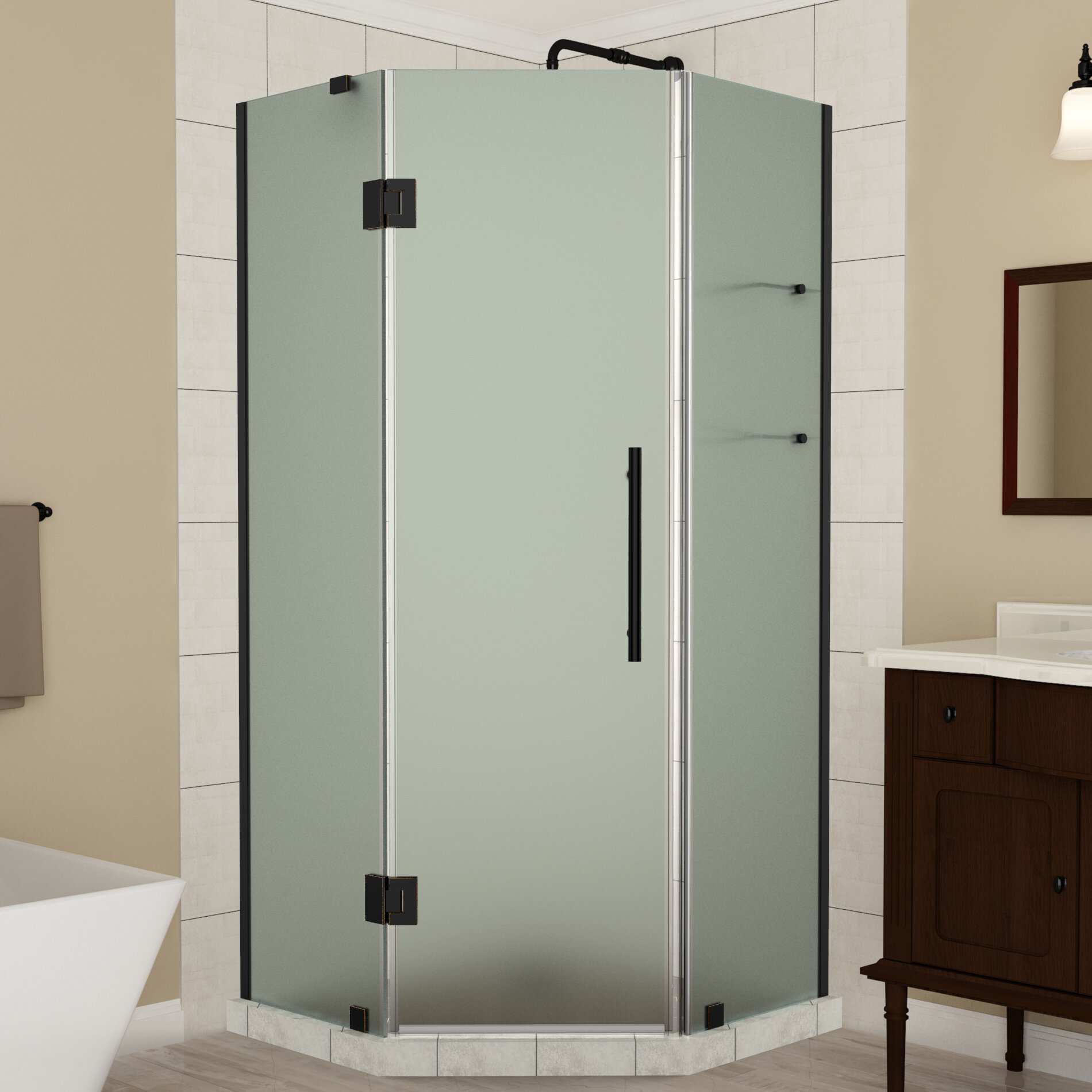 Merrick Gs Frameless 36 X 72 Neo Angle Hinged Shower Enclosure