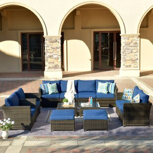 Cassville Patio Furniture 12 Piece Rattan Sectional Seating Group with Cushions