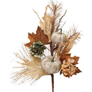 Decorative Spray with Faux Pumpkins, Hydrangea Heads, Leaves and Twigs