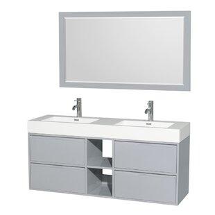Daniella 60 Double Dove Gray Bathroom Vanity Set with Mirror by Wyndham Collection