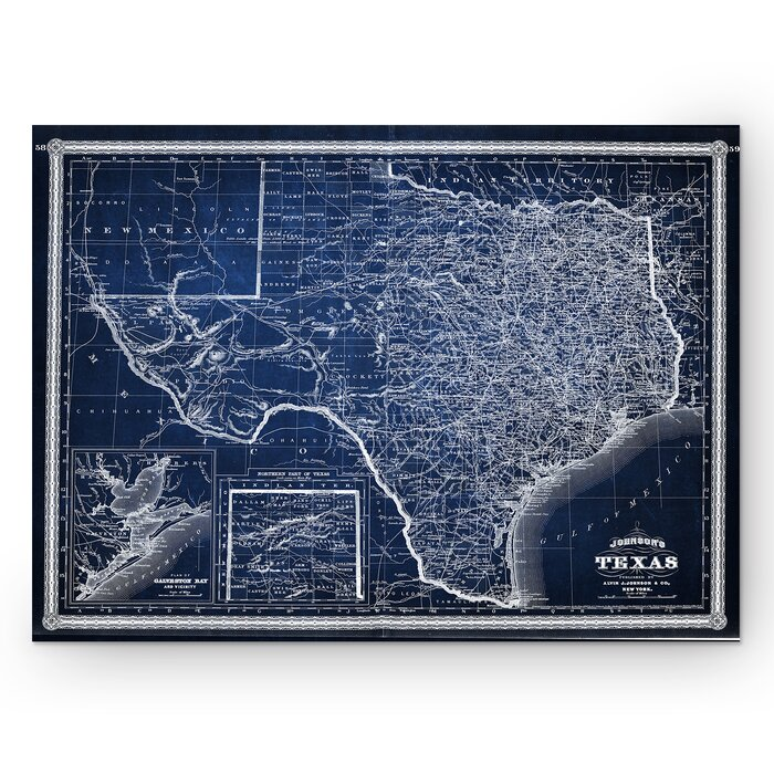 'Vintage Map Texas' Graphic Art Print on Wrapped Canvas in Blue