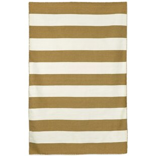 Big Save Ranier Stripe Hand-Woven Khaki Indoor/Outdoor Area Rug By Beachcrest Home