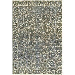 Sela Vintage Persian Hand Woven Wool Blue Border Area Rug