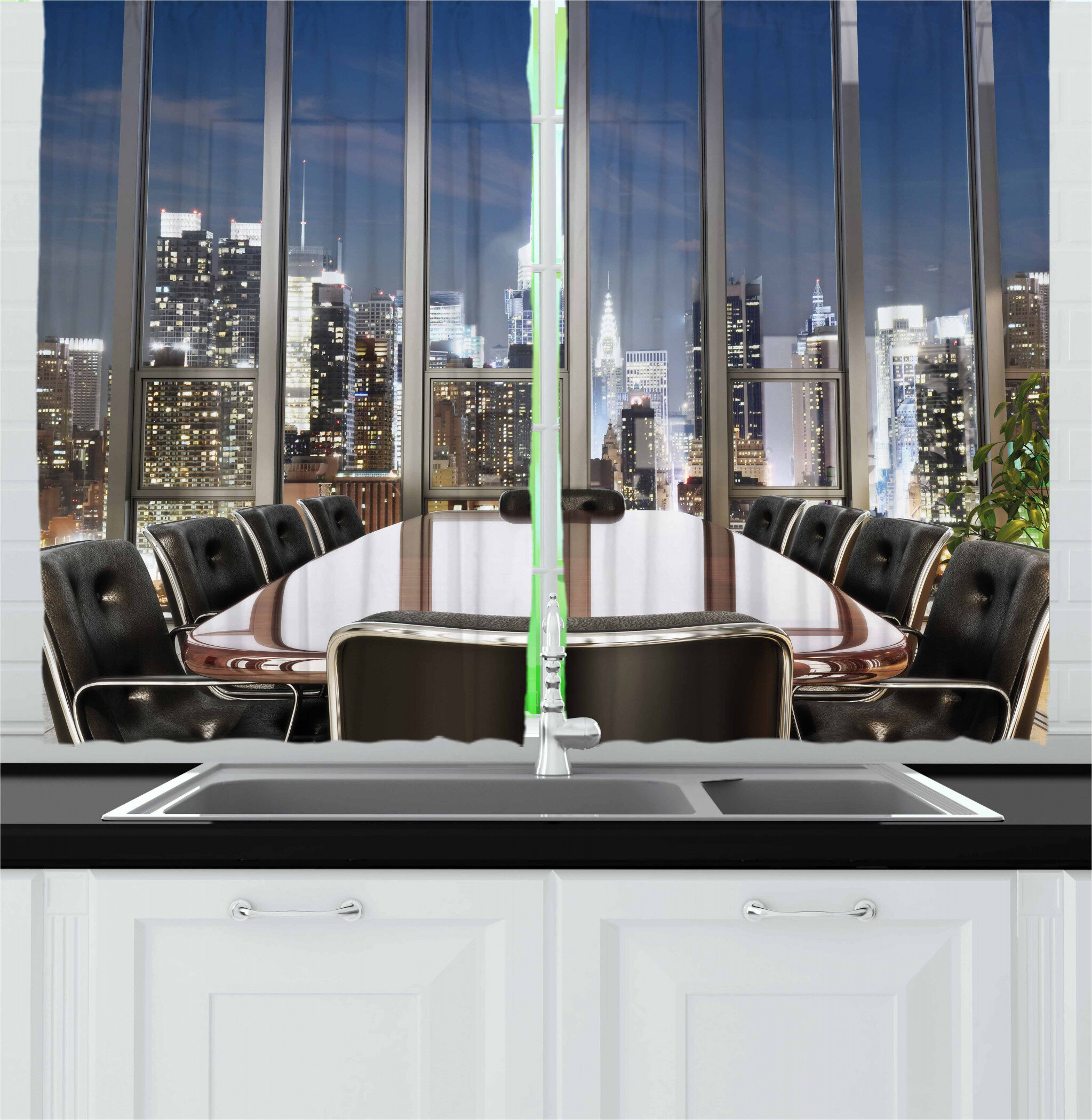 49 Piece Business Office Conference Room Table Chairs City View at Dusk  Realistic Photo Kitchen Curtain
