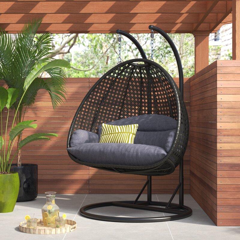 LeisureMod Schuster Wicker Hanging Egg Double Swing Chair ...
