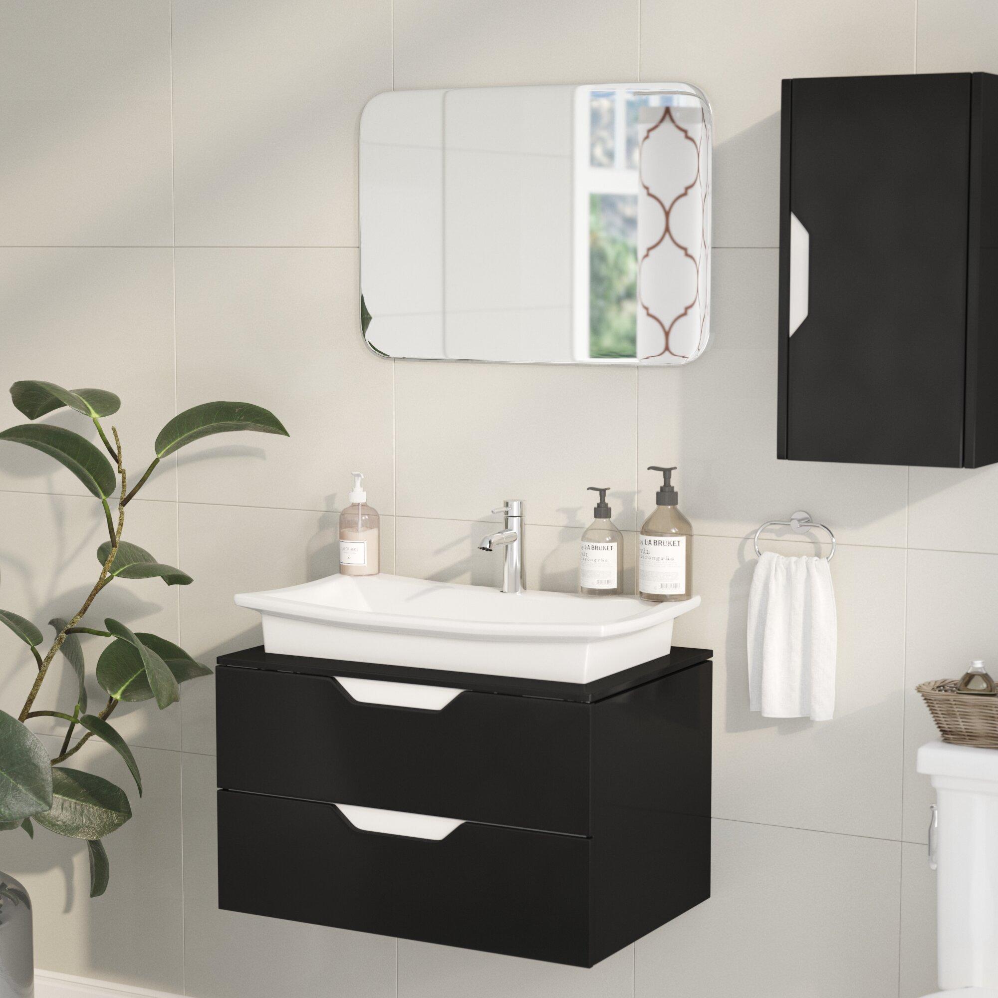 Wade Logan Brizendine 26 Wall Mounted Single Bathroom Vanity Set With Mirror Wayfair