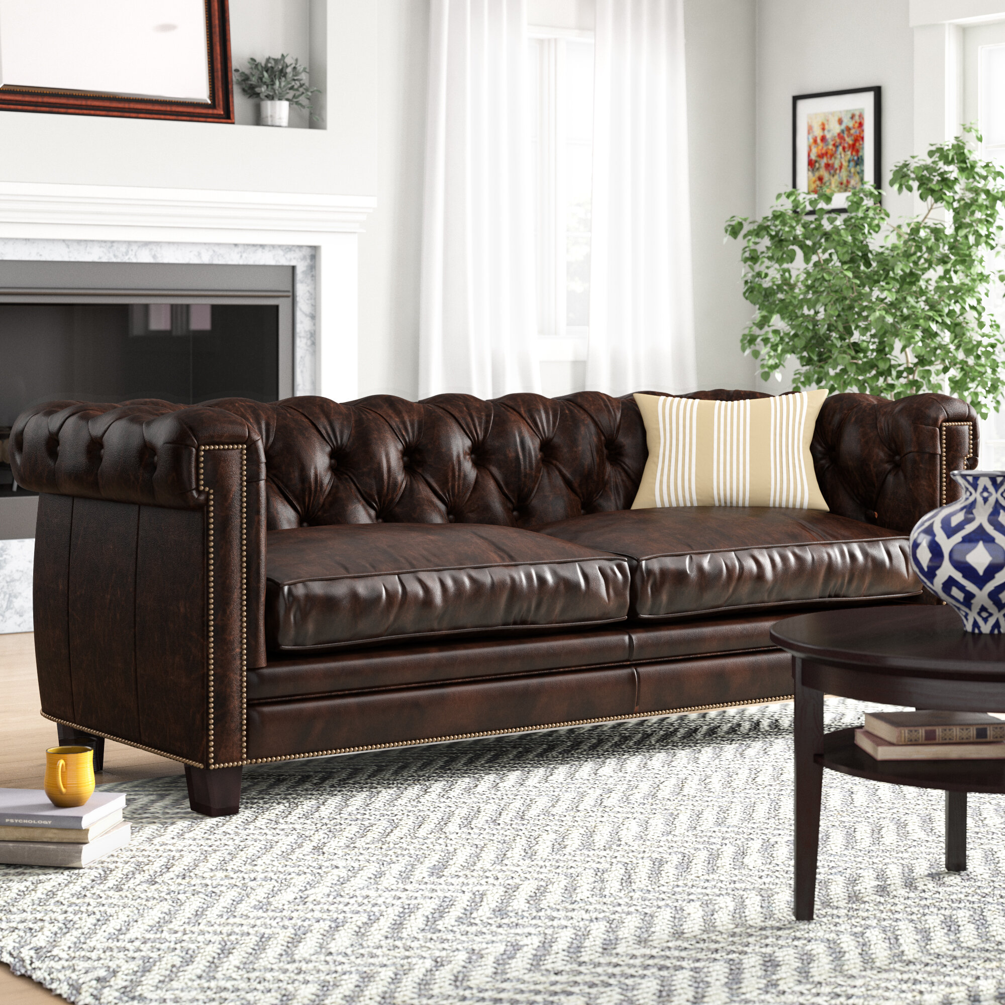 Home Garden Furniture Chesterfield Top Grain Black