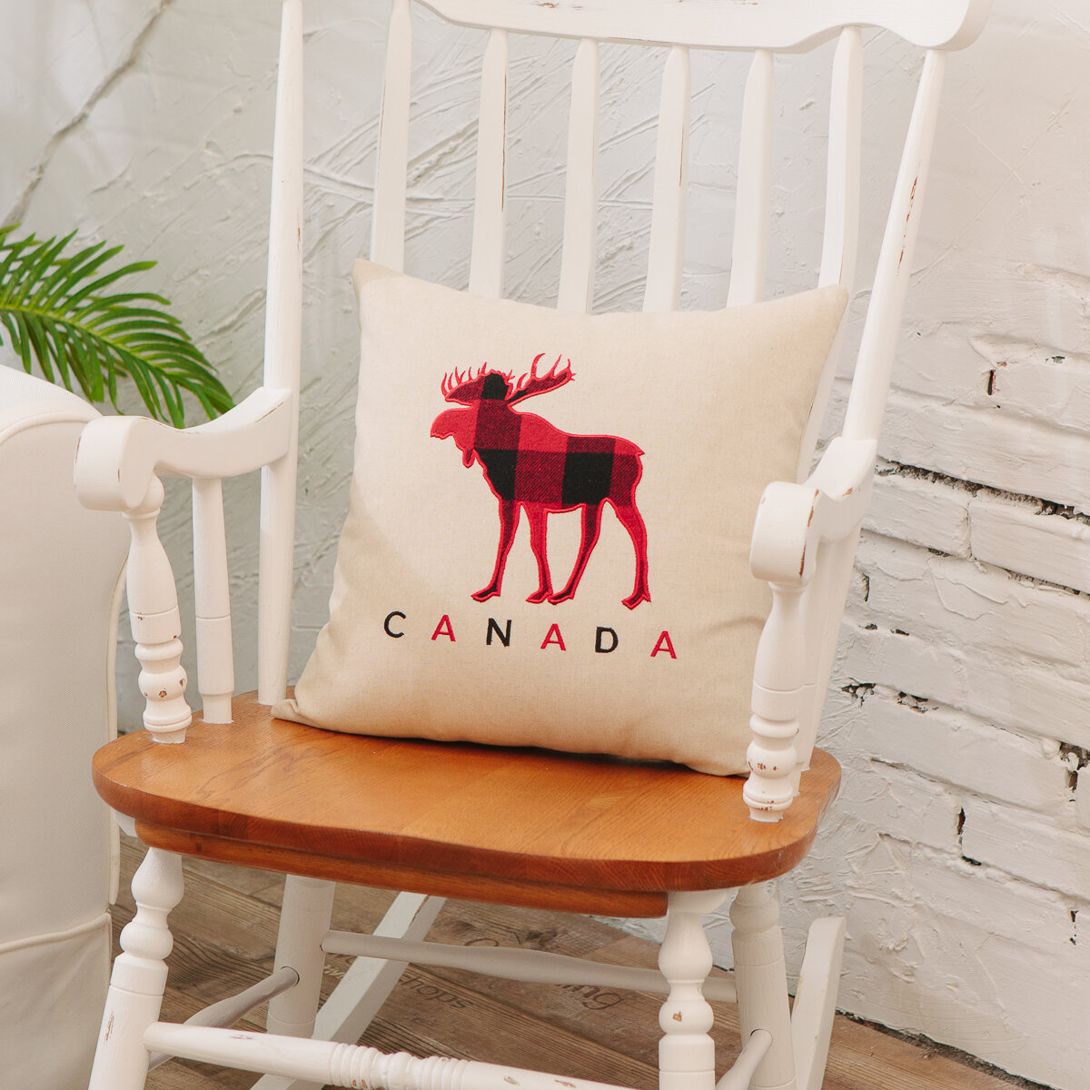 Millwood Pines Theberge Canada Plaid Moose Throw Pillow Wayfair