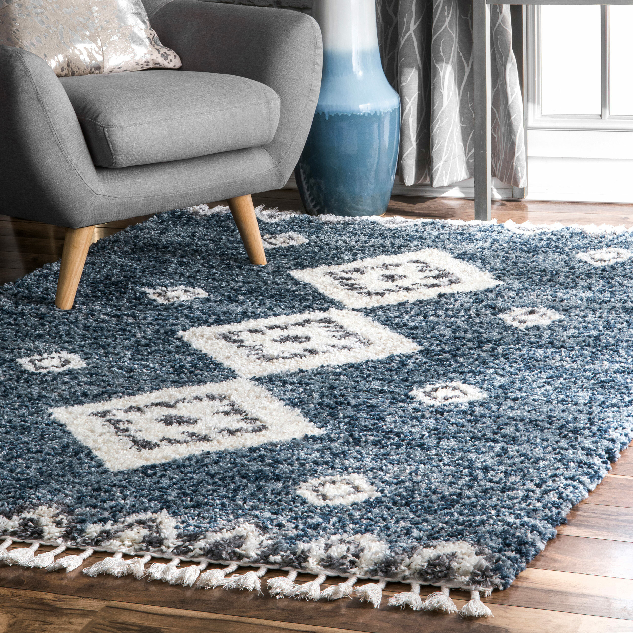 Union Rustic Hassan Blue Area Rug Reviews Wayfair