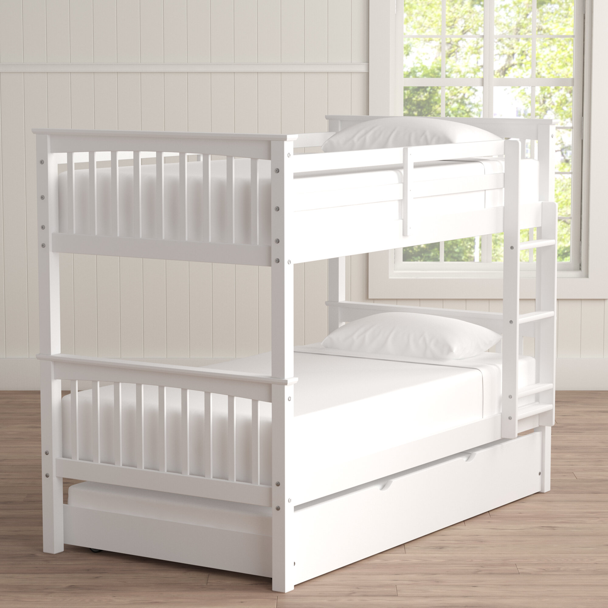 Picture of: Esmeralda Twin Over Twin Bed With Trundle Reviews Allmodern