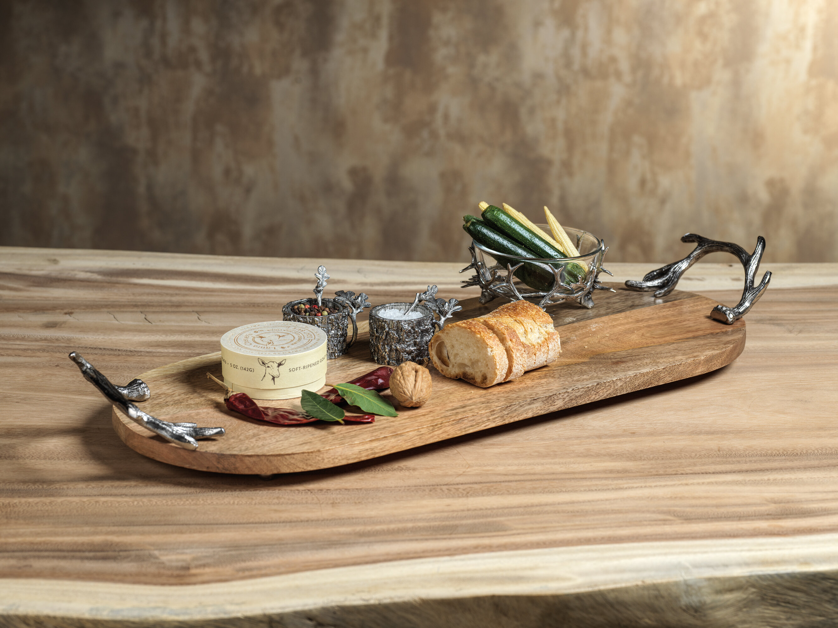 Union Rustic Giunta Long Wood Serving Tray With Antler Handles Wayfair