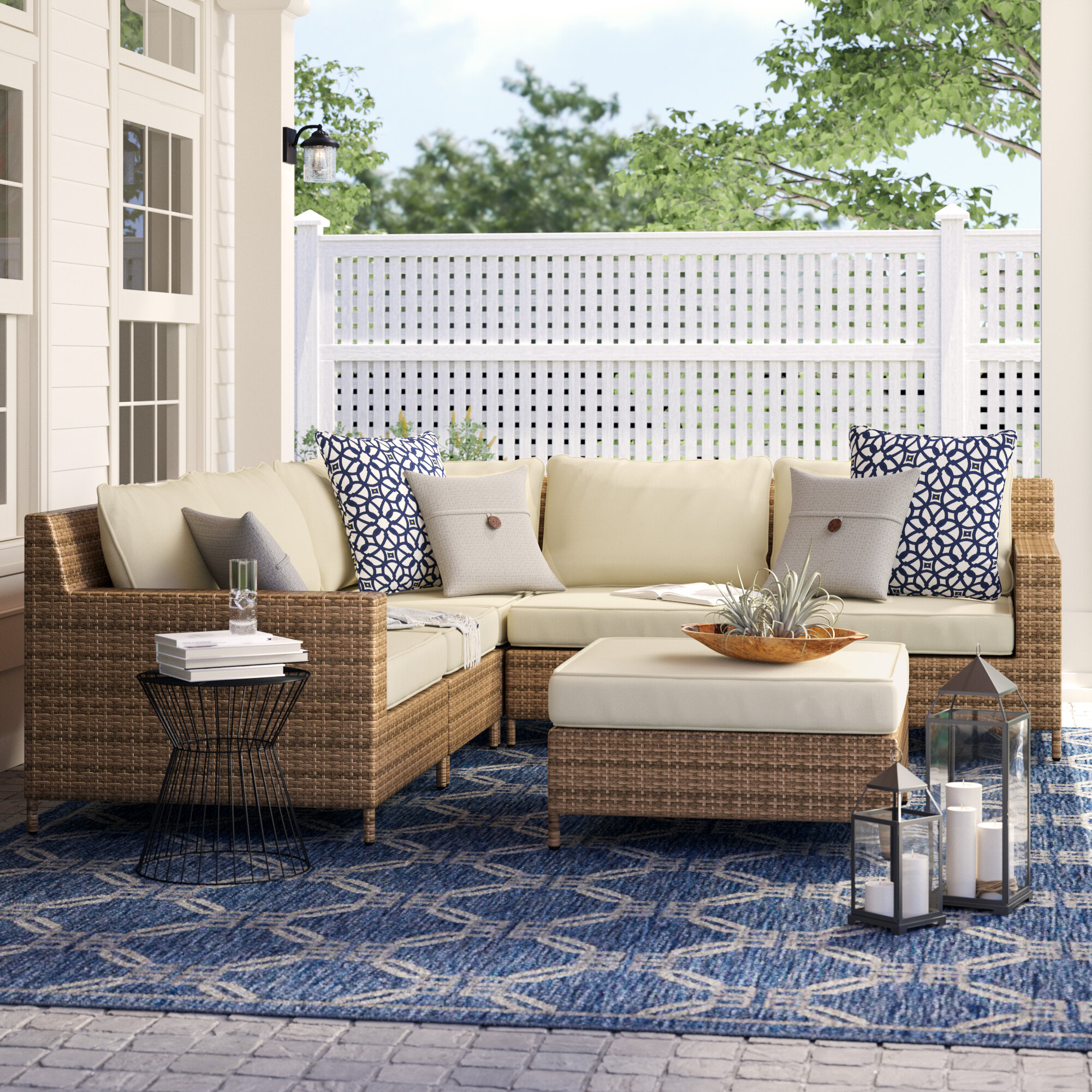 Birch Lane™ Heritage Hillcrest Patio Sectional with Cushions \u0026 Reviews | Birch Lane & Birch Lane™ Heritage Hillcrest Patio Sectional with Cushions ...