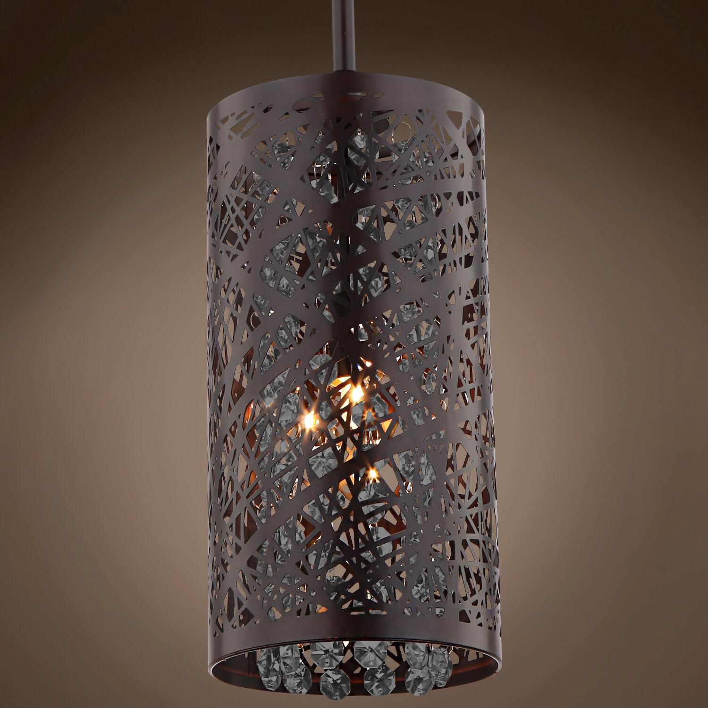 Mercer41 Hodder 1 Light Single Cylinder Pendant With Crystal Accents Wayfair
