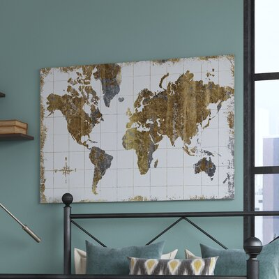Williston Forge 'Gilded Map' Graphic Art Print Size: 40 H x 60 W x 1.5 D, Format: Canvas